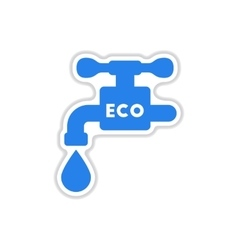 Paper sticker on white background water faucet vector