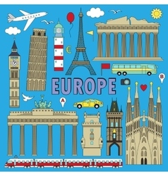 Europe travel colour set vector