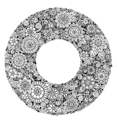 Black and white mandala flower ornament vector
