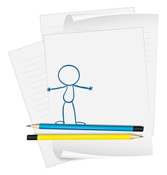 A paper with a drawing of a person standing vector image