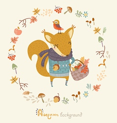 Autumn image with a squirrel vector