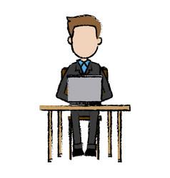 Business man sitting people work laptop computer vector