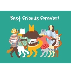 Cats and dogs pets group animal friends friendship vector