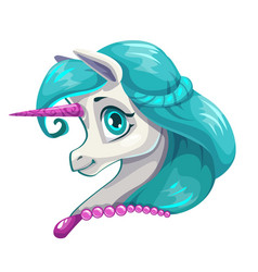 cute cartoon little unicorn face vector image