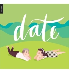 Date calligraphy and a young couple vector image vector image