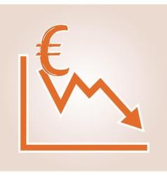 Decreasing graph with euro symbol vector