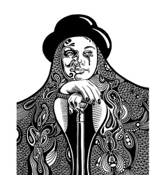 digital drawing of young witch vector image vector image