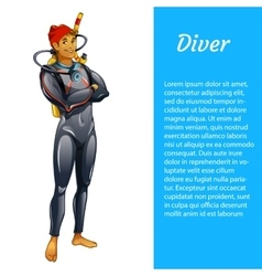 Diver man isolated with space for text vector image vector image