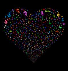 Ear fireworks heart vector