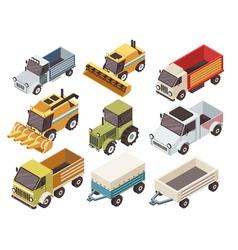 Farm vehicles isometric set vector