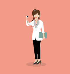 Female doctor holding stethoscope vector