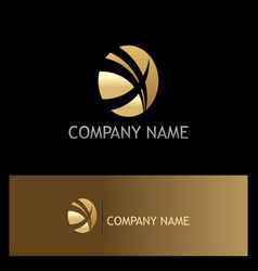 gold round letter x business logo vector image