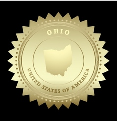 Gold star label ohio vector