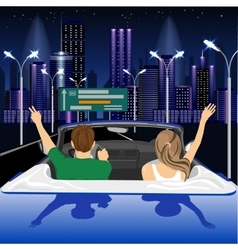 happy free couple driving in cabriolet car vector image
