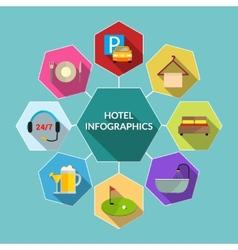 Hotel flat infographics vector