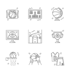 Linear icons for basketball vector image
