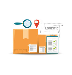 Magnifying glass boxes and logistic shipping vector