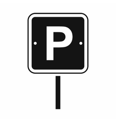 Parking traffic sign black simple icon vector