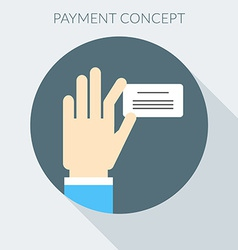 Payment concept hand giving invoice flat design vector