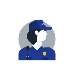 Police officer side view turned head woman in vector
