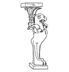 Roman table support trapezophoron winged lions or vector