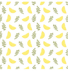 Seamless floral pattern lemon fruits background vector