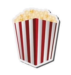 Striped popcorn bag icon vector
