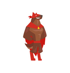 superhero dog character standing super dog vector image vector image