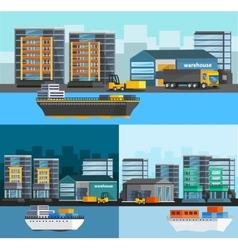 Sea port orthogonal compositions set vector