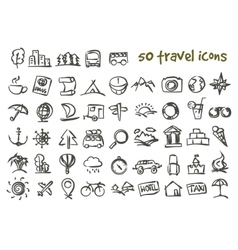 doodle travel icons set vector image