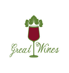 great wines glassware leaves image poster vector image