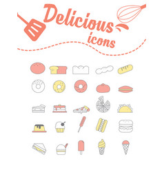 Delicious icons set on white vector