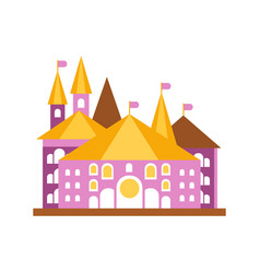Pink fairy tale castle with golden roof vector
