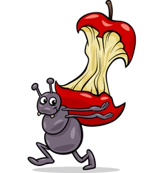 Ant with apple core cartoon vector