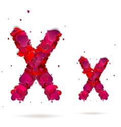 Letter x made from hearts Love alphabet vector image