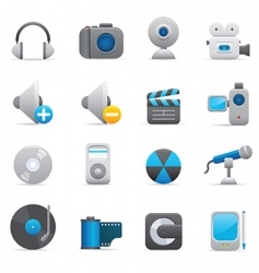 multimedia icons  indigo vector image