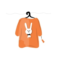 Sweater on hangers with funny rabbit design vector image