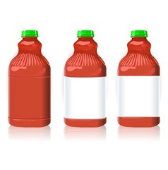 Three Red Plastic Bottles with Generic Labels vector image