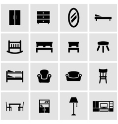 Black furniture icon set vector