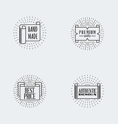 Set of hipster vintage labels or badges thin line vector