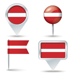 Map pins with flag of latvia vector