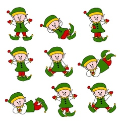 Xmas cute elf set vector