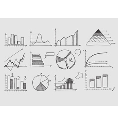 Hand draw doodle elements chart graph concept vector