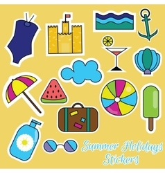 Colorful summer holidays stickers vector