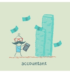 accountant with a calculator considers a lot of vector image vector image