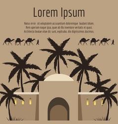 arabian house palm tree camels backround vector image vector image