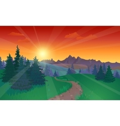 Beautiful Sunset Landscape vector image vector image