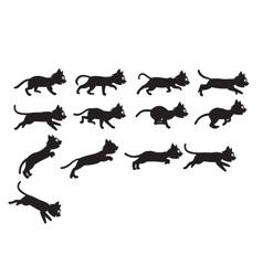 Black cat jumping sprite vector