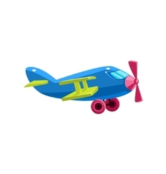 Blue Biplane Toy Aircraft Icon vector image
