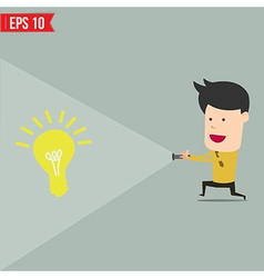 Businessman use flashlight find an idea vector